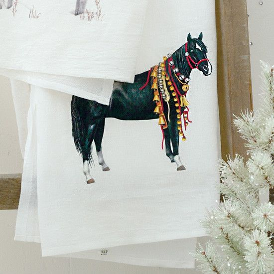 Jingle Bells Black Horse Flour Sack Towel- A black horse in a red halter covered in many kinds of jingle bells the feature of this holiday flour sack towel.