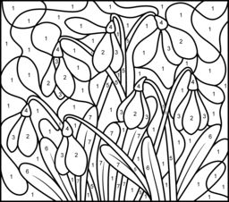 Snowdrop - Printable Color by Number Page - Hard