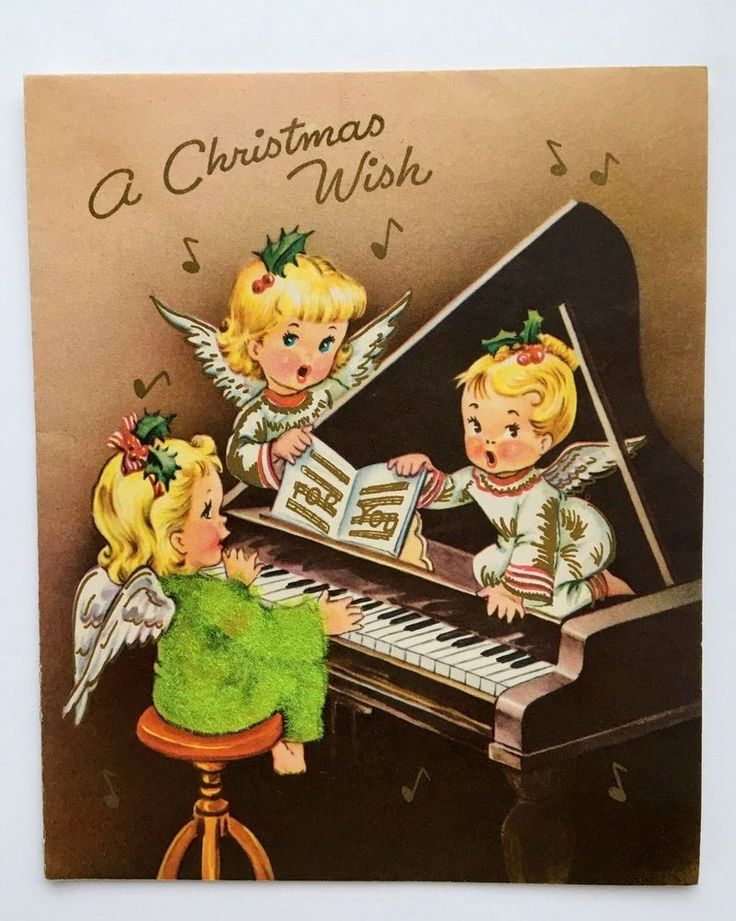 Vintage Christmas Card Pretty Flocked Angel Girl Grand Piano Music Sing Gold