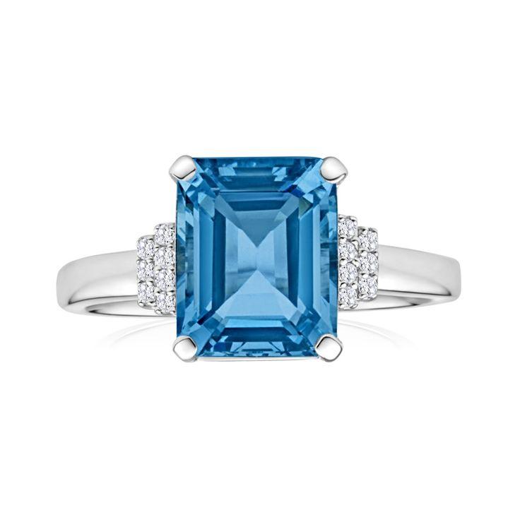 'Anamarine' Aquamarine and Diamond Ring in 9ct White Gold