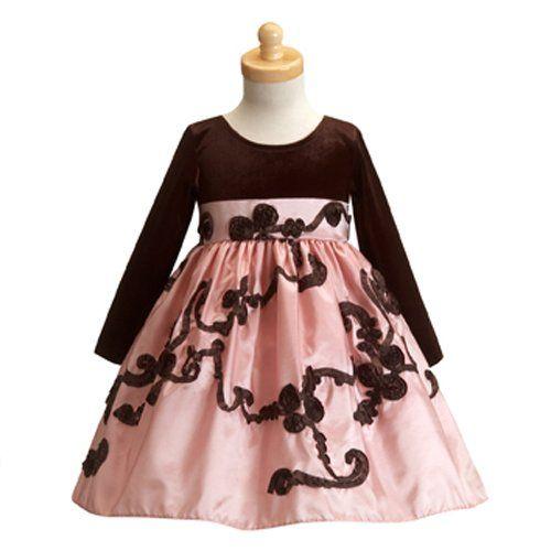 Amazon Com Lito Pink Velvet Taffeta Christmas Dress