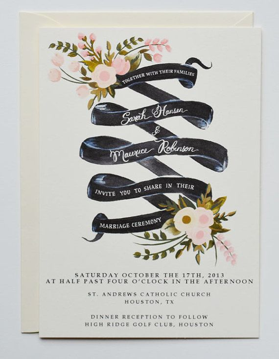 hand painted wedding invitation ideas. hand painted floral frame,