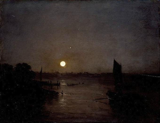 Painting: Joseph Mallord William Turner, Moonlight, a Study at Millbank, 1797