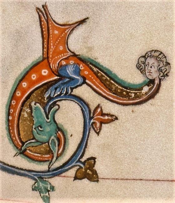 Medieval Dragon marginalia hears voices following him around. The Gorleston Psalter, Add MS 49622 f.23r, c.1310-1324