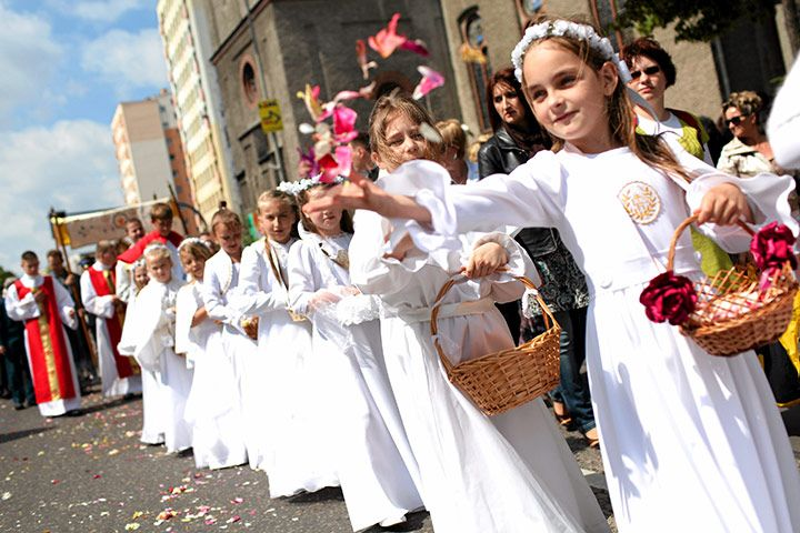Children take part in a Corpus Christi procession in the city of Swinoujscie, Poland    Photograph: Agencja Gazeta/Reuters