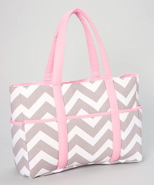 This Sweet Cheeks Gray & Pink Zigzag Diaper Bag by Sweet Cheeks is perfect! #zulilyfinds