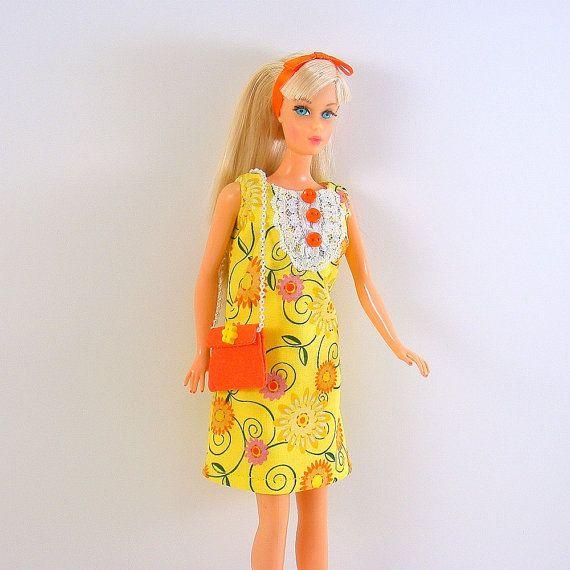 Barbie Dress 60s Fashion Mod Yellow Orange by NutmegnSassafras, $17.00: Dress 60S, Fashion Mod, Mod Era Barbie, Barbie Dolls, 60S Fashion, Floral, Barbie Dress, Bib Mini