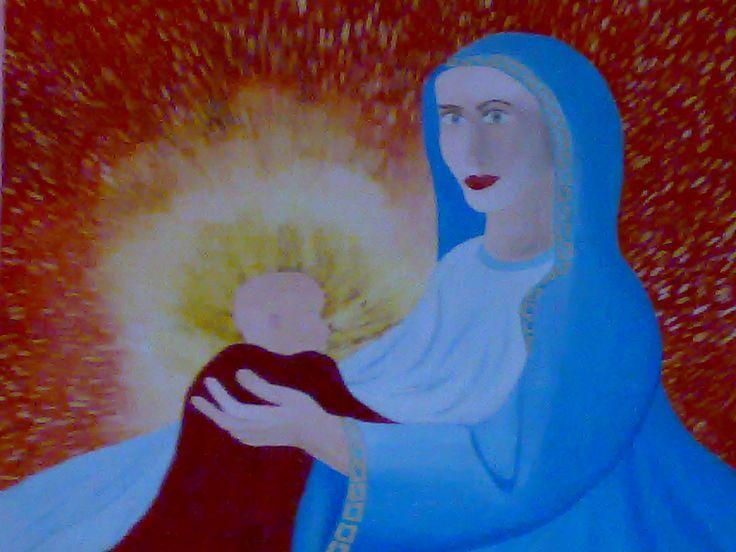 Madonna con Bambino .olio su tela