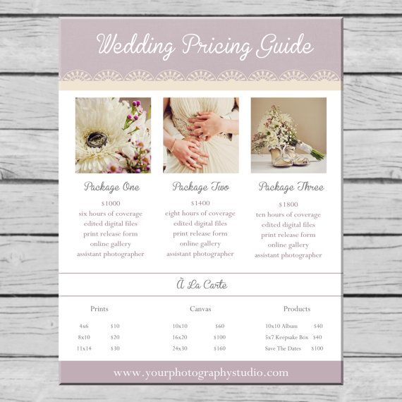Wedding Photography Pricing Guide Template By Littlemissmaedesign
