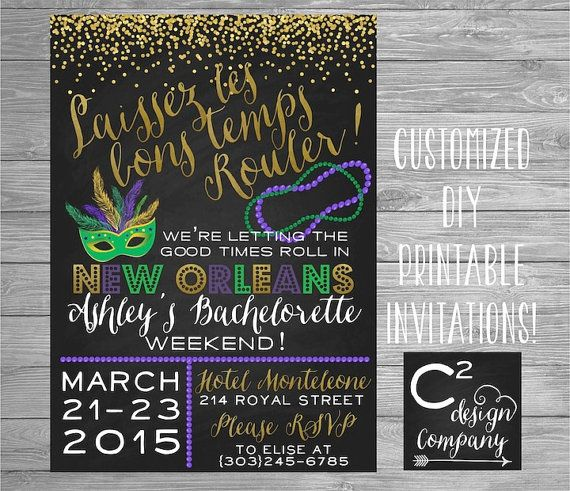 Let The Good Times Roll New Orleans Bachelorette Invitation In 2019