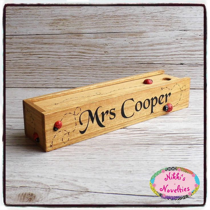 Teacher gift, wooden pencil case, pencil box, desk tidy, personalised pencil case, ladybird case, classic pencil case by NikkisNoveltiesUK on Etsy https://www.etsy.com/uk/listing/526599870/teacher-gift-wooden-pencil-case-pencil