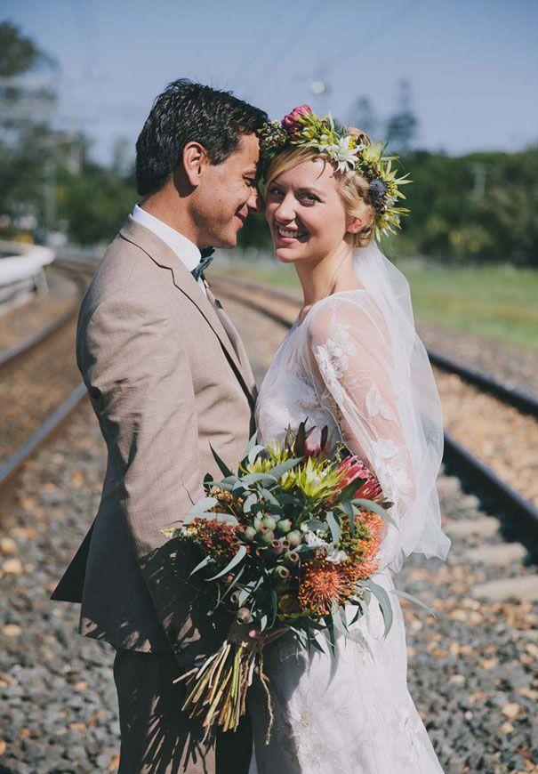 LUCY + STEVE // #bride #groom #wedding #ceremony #reception #movetheatre #cool #photographer #natives #bouquet #flowercrown #clairepettibone #realwedding