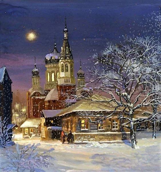 Фото: Канун великий Рождества... Темнеют краски небосвода... Всё тихо... близость торжества Невольно чувствует природа... Вот в небе вспыхнула звезда; Она зажглась, играя нежно... Как счастлив тот, кто день труда Сегодня кончит безмятежно, Кто, отложив дела свои, Забудет рой забот тяжёлый И отдохнёт в кругу семьи Спокойный, кроткий и весёлый... Услышит он святую весть, Когда раздастся звон вечерний, Но мир велик, — в нём много есть И тех, чей путь исполнен терний... О Боже! В этот день…