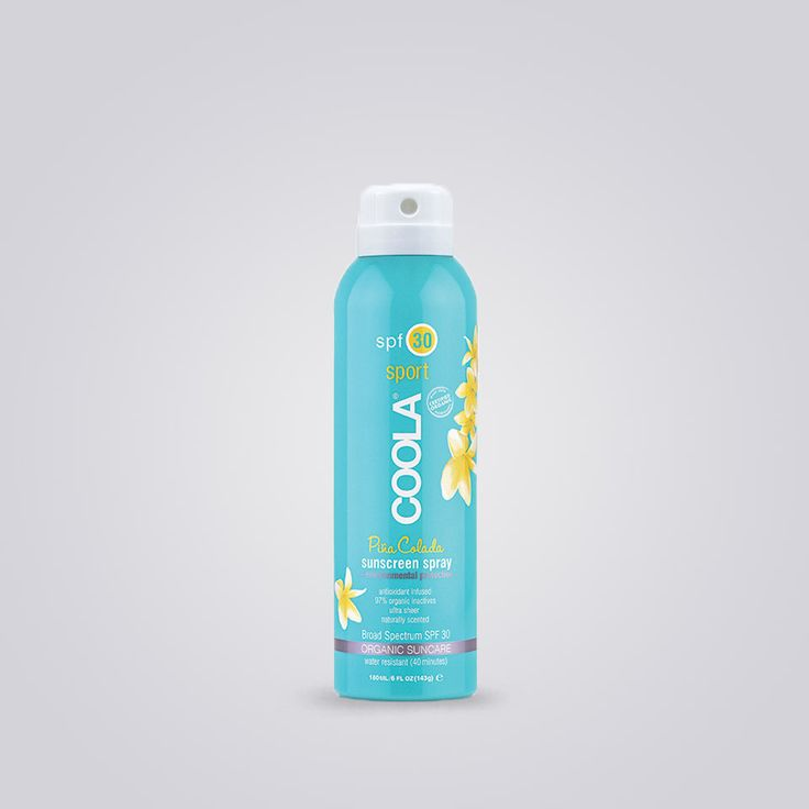 Coola Sunscreen Sport Spray Hurray for Spray® Spritz your sunscreen on the go with this continuous spray. Offering broad spectrum SPF 50 protection,this farm to face® sourced spray will nourish and hydrate skin with 70%+ certified organic ingredients like Cucumber, Algae and Strawberry Extracts. Formulated for the rigorous demands of sport, this spray sunscreen is water resistant for 80 minutes. Easy spray-on application.