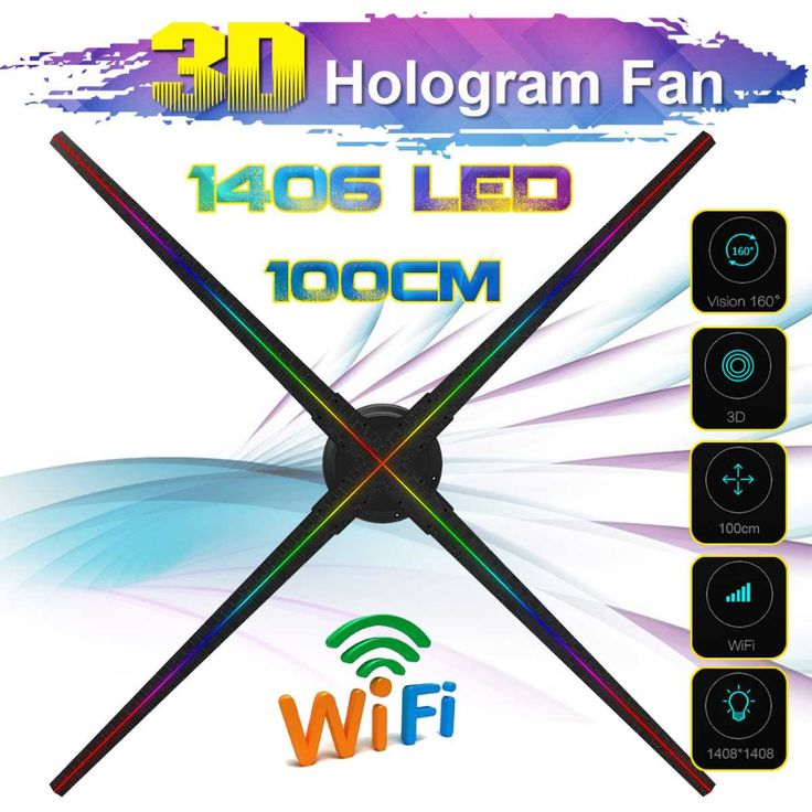 Upgraded 100CM Wifi 3D Holographic Projector Hologram Player LED Display Fan Advertising Light APP Control With Battery Outdoor    #holographic #holog…