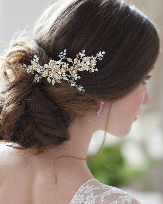 Bridal Hair Comb Pearl Rose Gold Crystal Headpiece Wedding Accessories 04719 Pin