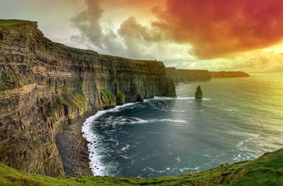Cliffs of Moher, Ireland One of Ireland's top tourist attractions, the Cliffs of Moher rise a staggering 700 feet from the Atlantic Ocean. A walk along the four-mile expanse feels like a visit to the edge of the world.