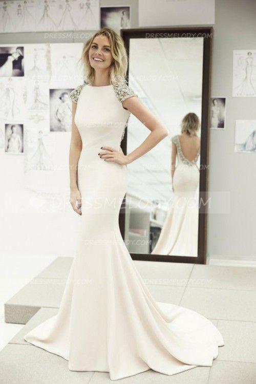 Strass Bateau-Ausschnitt mit kurzen Ärmeln rückenfrei lange Meerjungfrau Abendkleid # Abendkleid # Abendkleid # Abendkleid # Abendkleid #Promdress #Promdres ...