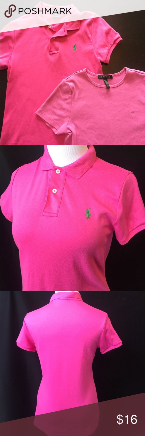 Ralph Lauren 2 pc pink shirt set Polo small fit 2 shirts, smoke free home. One is Ralph Lauren Sport and is a medium but fits like a small. One is Ralph Lauren and a small. Bundle and save! Fitted. Sold as a set. Polo By Ralph Lauren Tops Tees - Short Sleeve