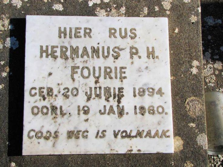 FOURIE Hermanus P.H. 1894-1960 Western Cape, HEIDELBERG, main cemetery