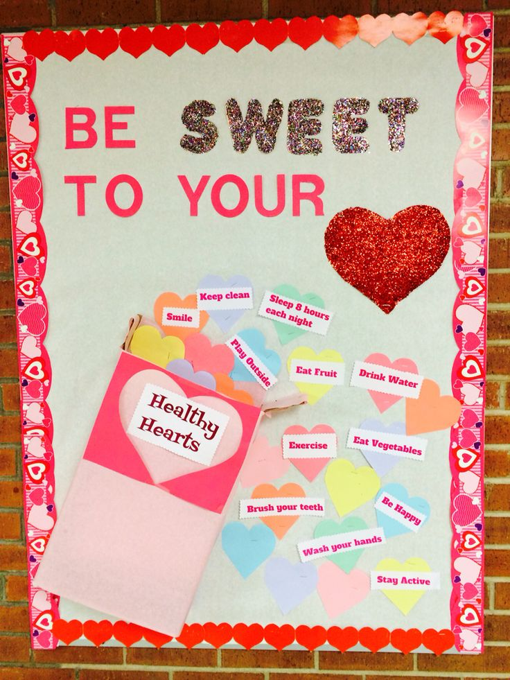 "Feb ""be sweet to your heat"" school nurse board"
