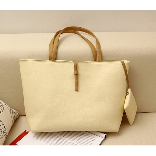 Solid Cream Zipper PU Fashion Bags $7.80