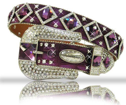 PURPLE DIAMOND RHINESTONE BUCKLE WESTERN  BLING BELT