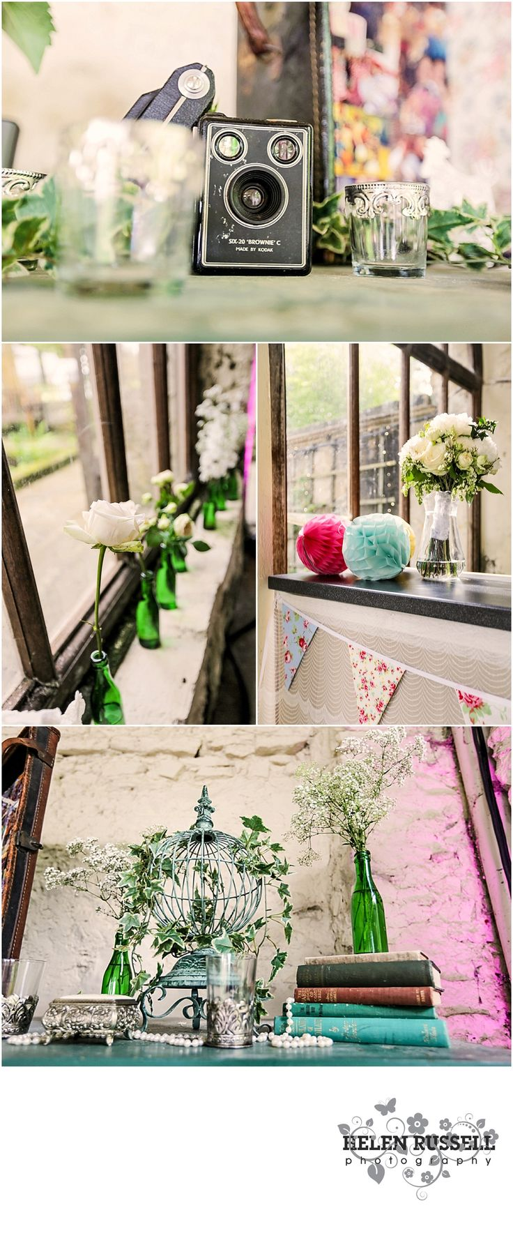 Duncombe Park, Wedding Ideas, Vintage Wedding, Outdoor Wedding, Industrial Wedding, Wedding Inspiration, Unique Wedding, Quirky Wedding, Yorkshire Wedding, Wedding Details, Prop Hire, Dry Hire Wedding, Prop Inspiration, Wedding, Props, Quirky Wedding Detail Ideas, DIY Wedding Detail, Unique Ideas, Glass Bottles, Vintage Bottles, Hydrangeas, Vintage Flowers, Vintage Camera, Jewellery Box, Globe Cage, Vintage Books, Wedding Bunting, Lace, Pearls, Glass Vase, Candle Holders