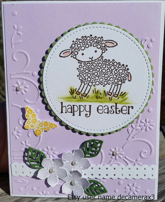 STAMPIN UP EASTER LAMB CARD KIT, SET OF 4 YOU WILL RECEIVE 1 COMPLETED CARD AND ALL THE SUPPLIES YOU WILL NEED TO MAKE MORE CARDS AND 4 MATCHING ENVELOPES. EACH CARD IS IN ITS OWN A2 CLEAR CELLOPHANE SLEEVE ENVELOPE. A GREAT WAY TO PROTECT, MAIL, OR STORE YOUR CARD. CARD IS BLANK ON THE INSIDE FOR YOUR PERSONAL MESSAGE CARD IS BLANK ON THE BACK FOR YOUR OWN PERSONAL STAMP. CARD MEASUREMENTS ARE 5 1/2 X 4 1/4 SUPPLIES USED ARE HIGH QUALITY STAMPIN UP AND LOCAL CRAFT STORE PRODUCTS.  ...