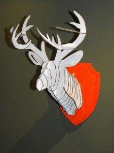 White Cardboard Deer Head