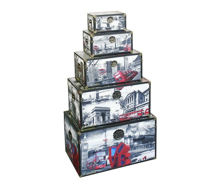 Storage Box   London City Scene (Set Of 5) A Decorative Storage Box Set