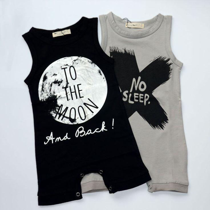 """No Sleep"" and ""To the Moon"" one piece rompers Sleeveless with harem style legs Snaps at leg area ""No Sleep"" available in grey ""To the Moon"" available in black Cotton blend material"