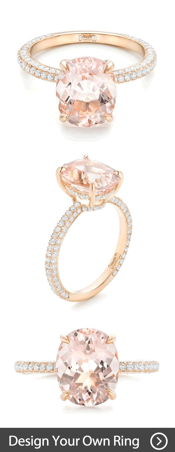 Custom Morganite and Pave Diamond Rose Gold Engagement Ring | Browse hundreds of custom pieces, and then create your own custom engagement ring online or in person! #JosephJewelry | Seattle | Bellevue