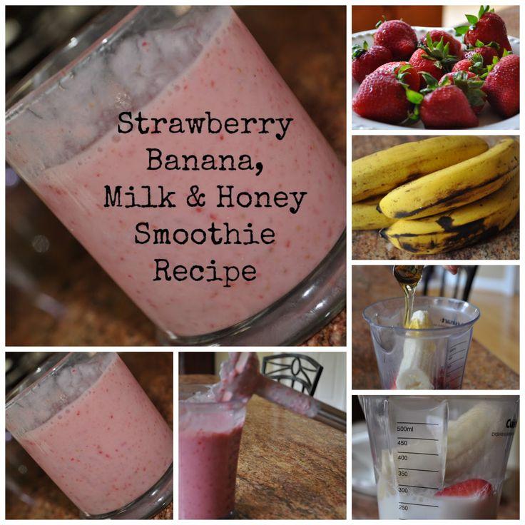 Strawberry Smoothie Recipe with Banana, Milk, and Honey via www.classymommy.com