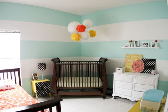 Soothing stripes in a nursery: Ideas, Stripes Wall, Nurseries, Colors, Shared Rooms, Baby, Cribs, Girls Rooms, Kids Rooms