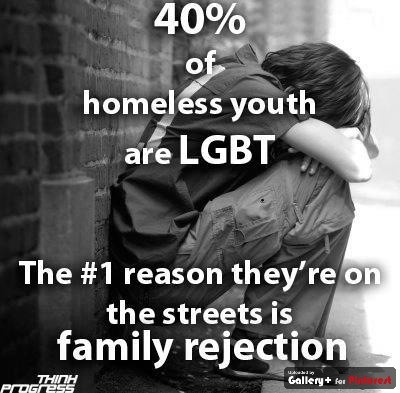 When living life as an LGBT youth, one's family acceptance determine's the child's self-esteem. If a child's family does not accept them the child loses their source of social support. This leads to depression, substance abuse, suicide, and in many cases homelessness.
