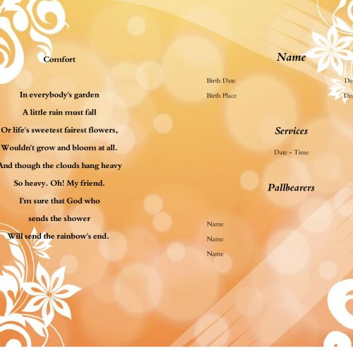 funeral program download and print is a process to create memorable funeral prints for funeral program. Download a funeral template and edit and print unlimited.