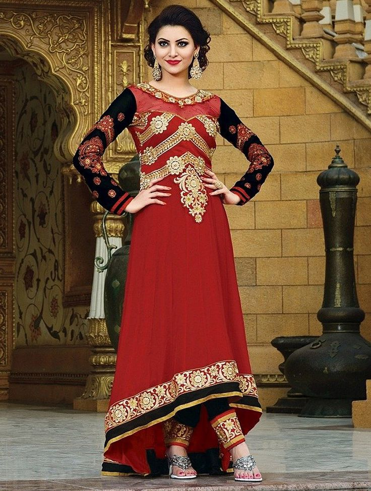 Red Fancy Embroidered Anarkali Suit