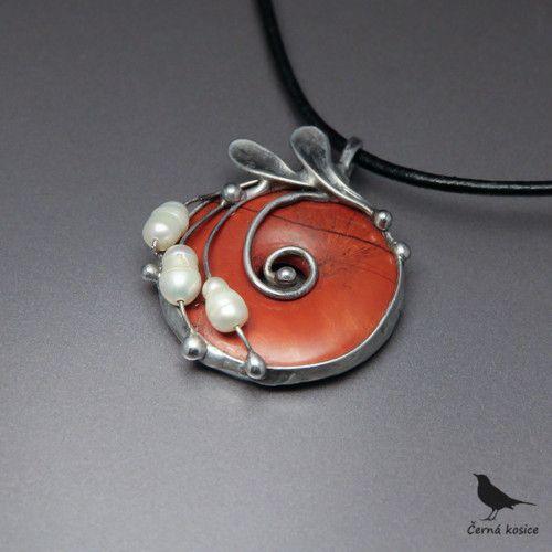 Červená kobliha (Jaspis+Perly) - náhrdelník