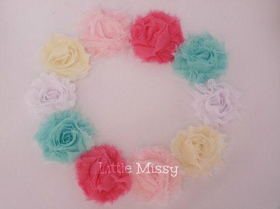 10 Chiffon Flowers Shabby Chiffon Flowers by LittleMissySupplies