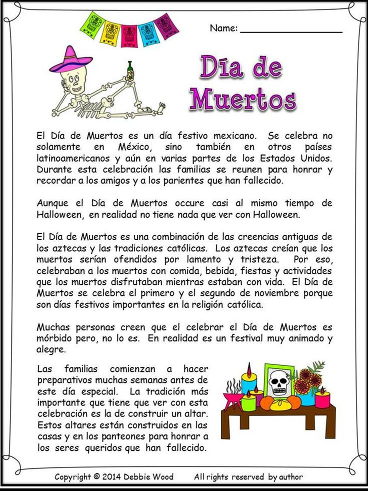 Dia de los muertos . Bilingual Reading, Vocabulary, Spanish language class.