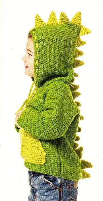 X774 Crochet PATTERN ONLY Dinosaur Hoodie Sweater Jacket Pattern. $5.95, via Etsy. - How cute is this!!