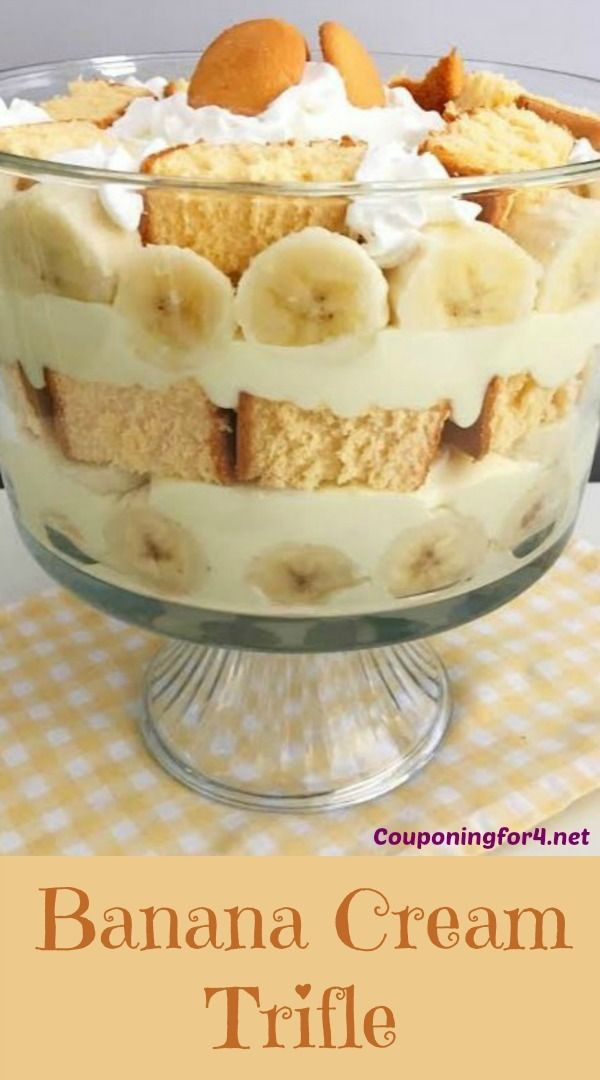 Banana Cream Trifle - This Banana Cream Trifle is just like a pie, but better! With bananas, Nilla Wafers and pound cake, this dessert recipe is to die for!