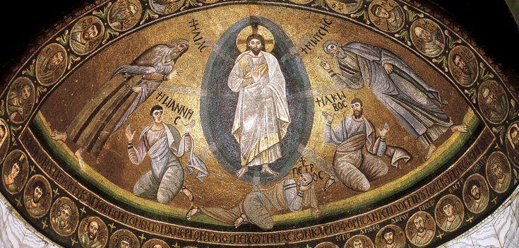 """Monastero di Santa Caterina, Sinai, Egitto. Il mosaico """"Trasfigurazione"""". 557-560. Il periodo di Giustiniano. La scena della Trasfigurazione era prediletta in epoca giustinianea. Il Monastero di Santa Caterina sul Monte Sinai, vera roccaforte dell'ortodossia, fu fondato da Giustiniano intorno al 557."""