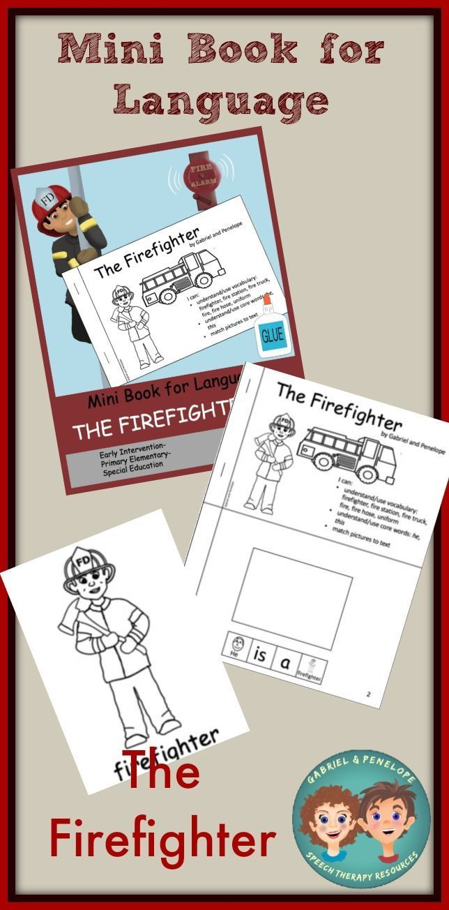 Mini Book For Language The Firefighter Mini Books Special Education Elementary Speech Therapy Autism [ 1304 x 644 Pixel ]
