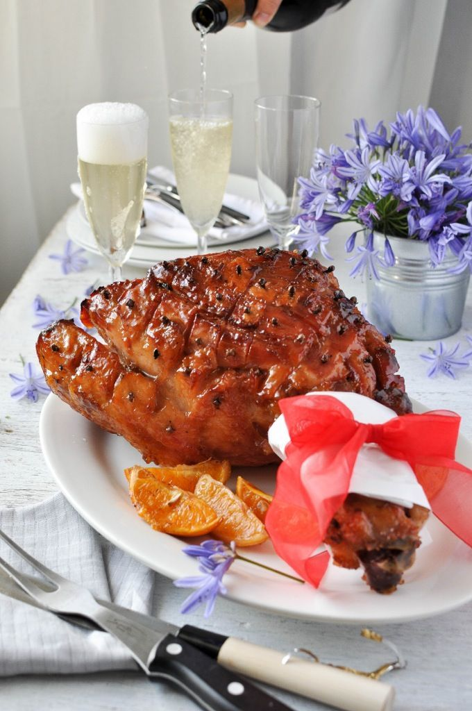 Easy Maple Sticky Glazed Ham - easy to make and looks impressive. The surface is really sticky and glossy.