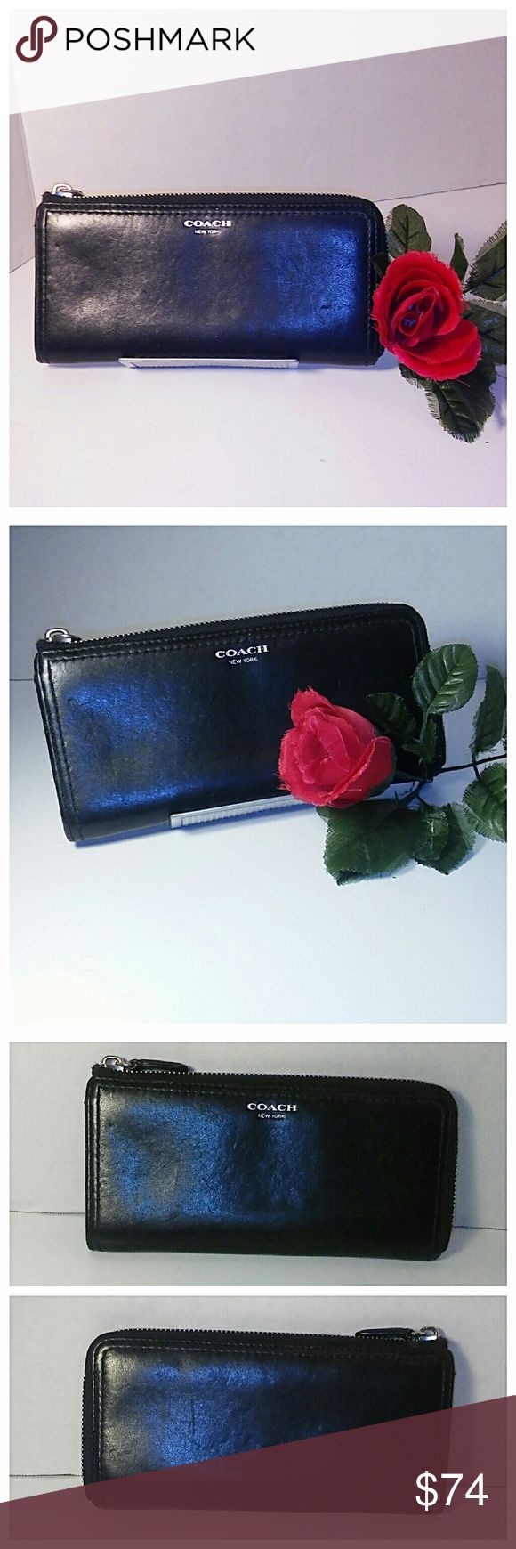 """Coach Legacy Slim Zip Wallet Authentic coach wallet in great shape. There's plenty of slots to keep you organized. Both the interior and exterior zippers run very smoothly. Freshly polished just for you. Measures 8"""" x 4"""".  Reasonable offers accepted  Coach Bags Wallets"""