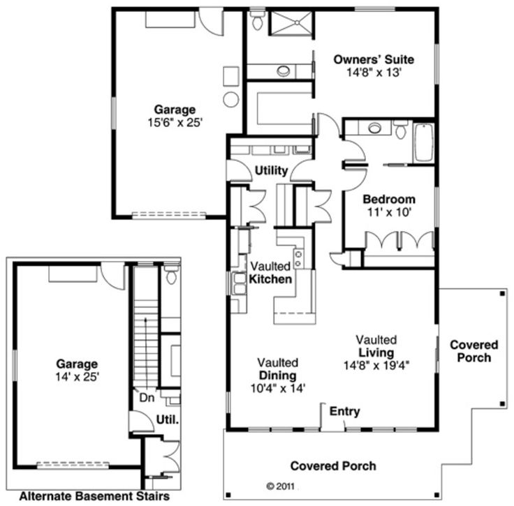 Craftsman Style House Plan - 2 Beds 2.00 Baths 1321 Sq/Ft Plan #124-725 Floor Plan - Main Floor Plan - Houseplans.com