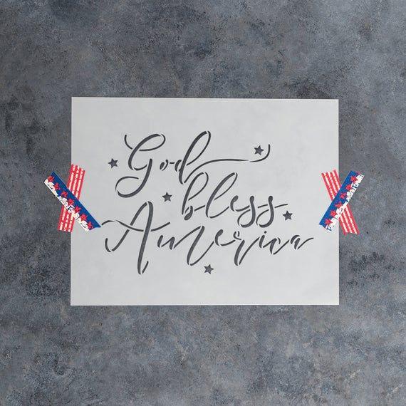 God Bless America Stencil Durable /& Reusable Mylar Stencils