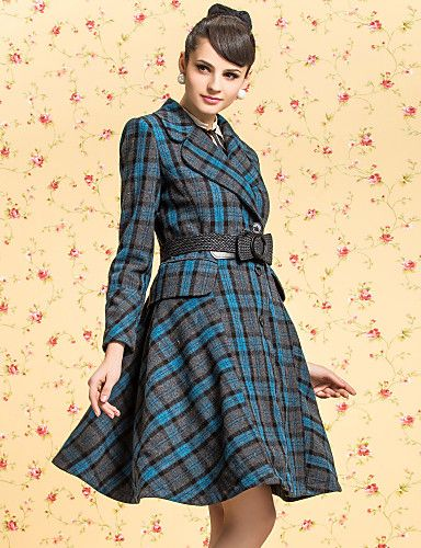 TS VINTAGE Check Pattern Lapel Swing Tweed Belt Coat